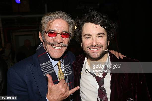 Geraldo Rivera and Alex Brightman pose backstage at the matinee of Andrew Lloyd Webber hit musical 'School of Rock' on Broadway at The Winter Garden...