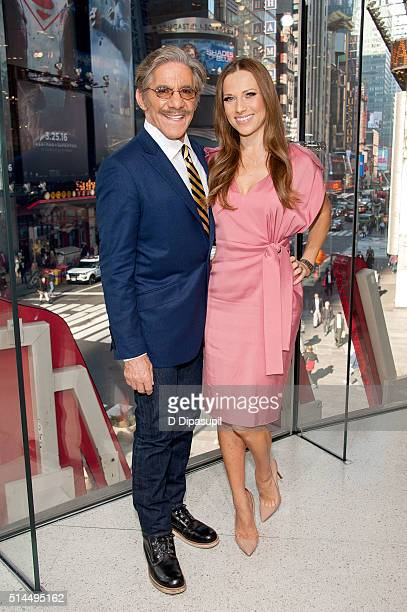 Geraldo Rivera and Edyta Sliwinska visit 'Extra' at their New York studios at HM in Times Square on March 9 2016 in New York City