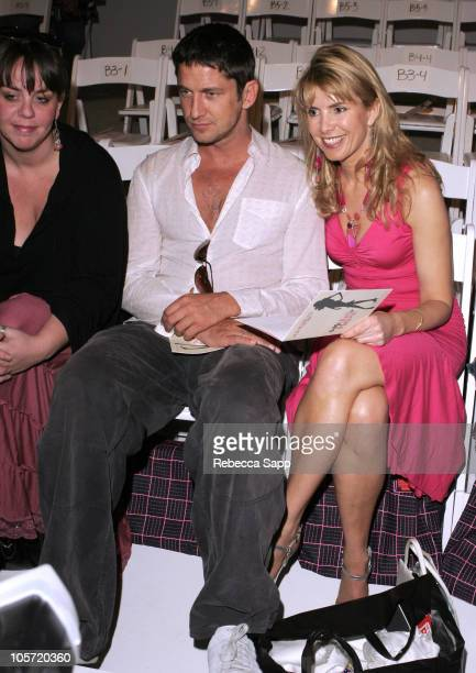 Gerard Butler and Julia Verdin during MercedesBenz Fall 2005 Fashion Week at Smashbox Studios Harveys Front Row at Smashbox Studios in Culver City...