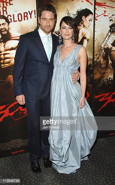 Gerard Butler and Lena Headey during '300' London Premiere Inside Arivals at Vue West End in London United Kingdom