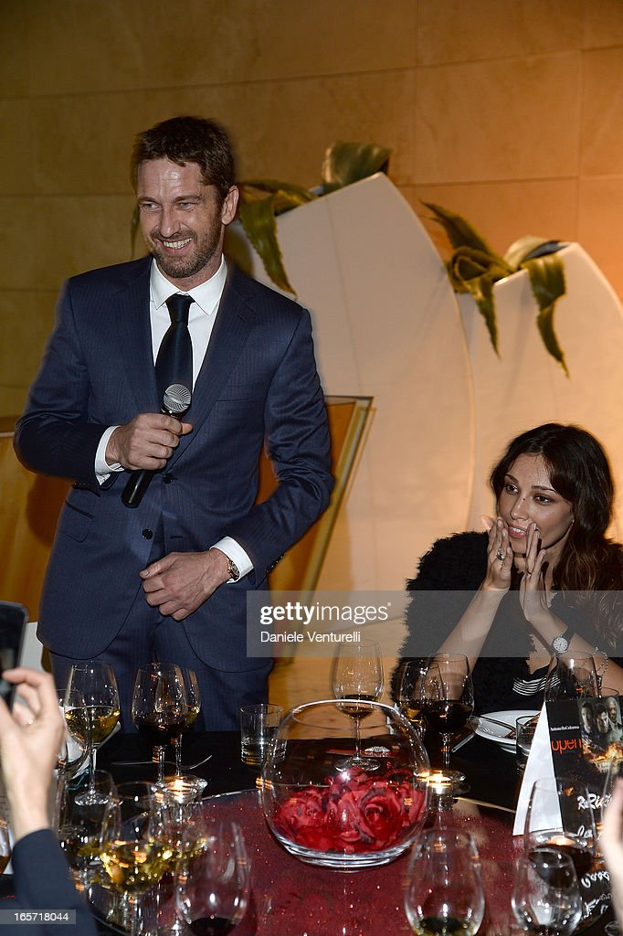 <a gi-track='captionPersonalityLinkClicked' href=/galleries/search?phrase=Gerard+Butler&family=editorial&specificpeople=202258 ng-click='$event.stopPropagation()'>Gerard Butler</a> and Madalina Ghenea attend a gala dinner by Antonello Colonna for the movie 'Olympus Has Fallen' on April 5, 2013 in Rome, Italy.