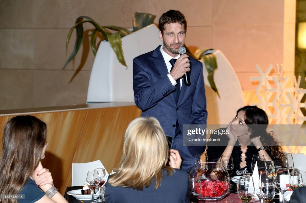 <a gi-track='captionPersonalityLinkClicked' href=/galleries/search?phrase=Gerard+Butler+-+Actor&family=editorial&specificpeople=202258 ng-click='$event.stopPropagation()'>Gerard Butler</a> and Madalina Ghenea attend a gala dinner by Antonello Colonna for the movie 'Olympus Has Fallen' on April 5, 2013 in Rome, Italy.