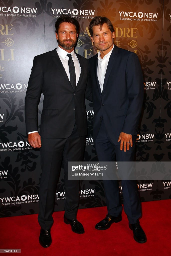 Gerard Butler and Nikolaj Coster-Waldau attend the YMCA Mother of All Balls at Town Hall on May 24, 2014 in Sydney, Australia.