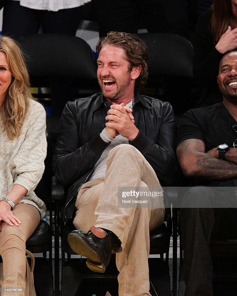 Gerard Butler attends a basketball game between the Oklahoma City Thunder and the Los Angeles Lakers at Staples Center on April 22, 2012 in Los Angeles, California.