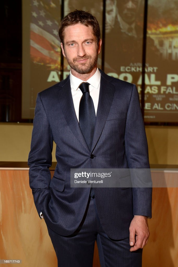 <a gi-track='captionPersonalityLinkClicked' href=/galleries/search?phrase=Gerard+Butler&family=editorial&specificpeople=202258 ng-click='$event.stopPropagation()'>Gerard Butler</a> attends a gala dinner by Antonello Colonna for the movie 'Olympus Has Fallen' on April 5, 2013 in Rome, Italy.