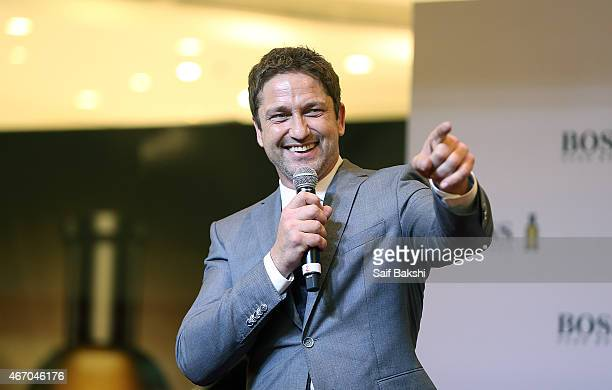 Gerard Butler attends a photocall for Hugo Boss on March 20 2015 in Dubai United Arab Emirates