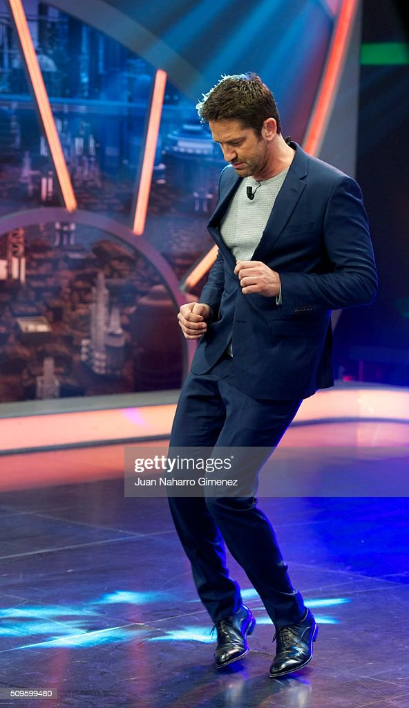 <a gi-track='captionPersonalityLinkClicked' href=/galleries/search?phrase=Gerard+Butler+-+Actor&family=editorial&specificpeople=202258 ng-click='$event.stopPropagation()'>Gerard Butler</a> attends 'El Hormiguero' Tv show at Vertice Studio on February 11, 2016 in Madrid, Spain.