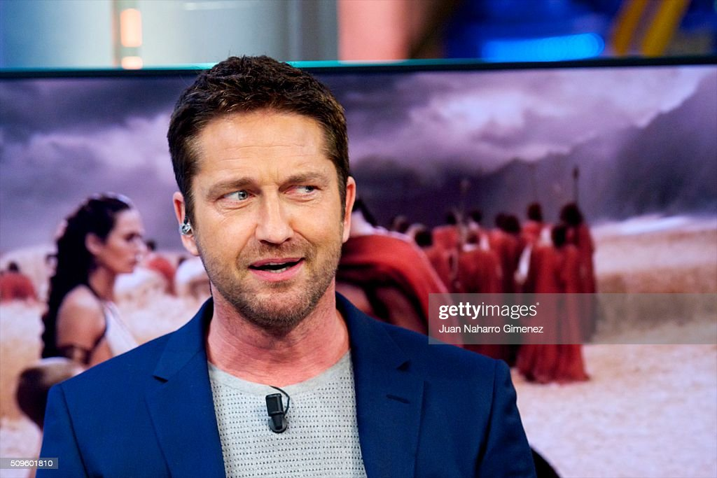 Gerard Butler attends 'El Hormiguero' Tv show at Vertice Studio on February 11, 2016 in Madrid, Spain.