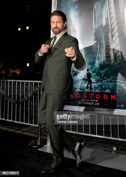 Gerard Butler attends the premiere of Warner Bros Pictures 'Geostorm' at TCL Chinese Theatre on October 16 2017 in Hollywood California