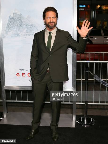 Gerard Butler attends the premiere of Warner Bros Pictures' 'Geostorm' on October 16 2017 in Hollywood California