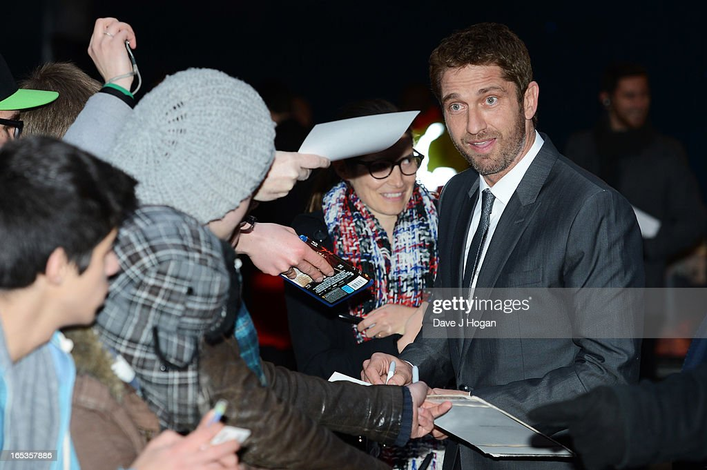 <a gi-track='captionPersonalityLinkClicked' href=/galleries/search?phrase=Gerard+Butler+-+Actor&family=editorial&specificpeople=202258 ng-click='$event.stopPropagation()'>Gerard Butler</a> attends the UK premiere of 'Olympus Has Fallen' at The IMAX on April 03, 2013 in London, England.