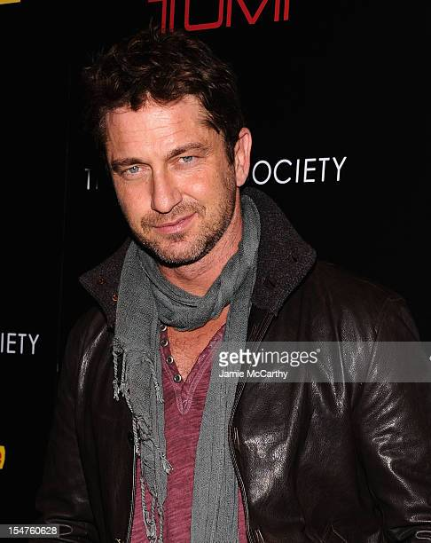 Gerard Butler attends the Weinstein Company Cinema Society Screening of 'This Must Be The Place' at the Tribeca Grand Hotel on October 25 2012 in New...
