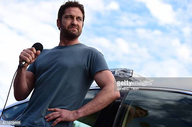 Gerard Butler gives the command prior to the NASCAR Sprint Cup Series DAYTONA 500 at Daytona International Speedway on February 21 2016 in Daytona...