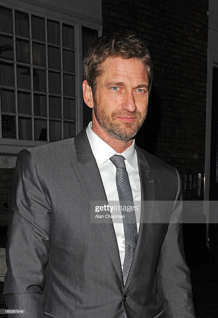 <a gi-track='captionPersonalityLinkClicked' href=/galleries/search?phrase=Gerard+Butler+-+Actor&family=editorial&specificpeople=202258 ng-click='$event.stopPropagation()'>Gerard Butler</a> pictured arriving at The Club at The Ivy for the after party following the premiere of Olympus Has Fallen on April 3, 2013 in London, England.