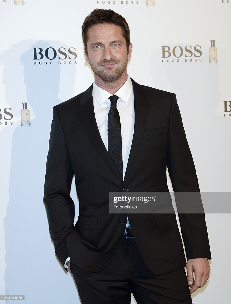 <a gi-track='captionPersonalityLinkClicked' href=/galleries/search?phrase=Gerard+Butler&family=editorial&specificpeople=202258 ng-click='$event.stopPropagation()'>Gerard Butler</a> presents the Boss Bottled fragrance 'Man Of Today' Campaign at the NH Collection Eurobuilding Hotel on February 3, 2016 in Madrid, Spain.