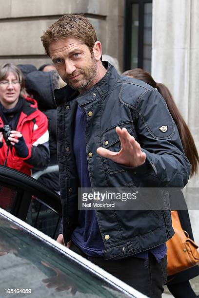Gerard Butler seen at BBC Radio 2 on April 4 2013 in London England