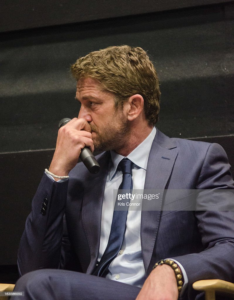 Gerard Butler speaks during the 'Olympus Has Fallen' screening at AMC Loews Georgetown 14 on March 12, 2013 in Washington, DC.
