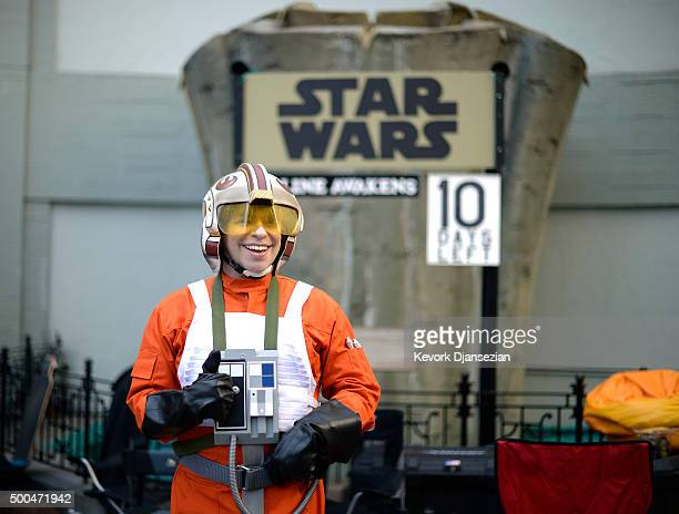 Gerard Christian Zacher dressed in the uniform of 'Star Wars' character Luke Skywalker camps out at TCL Chinese Theatre prior to the Dec 17 opening...