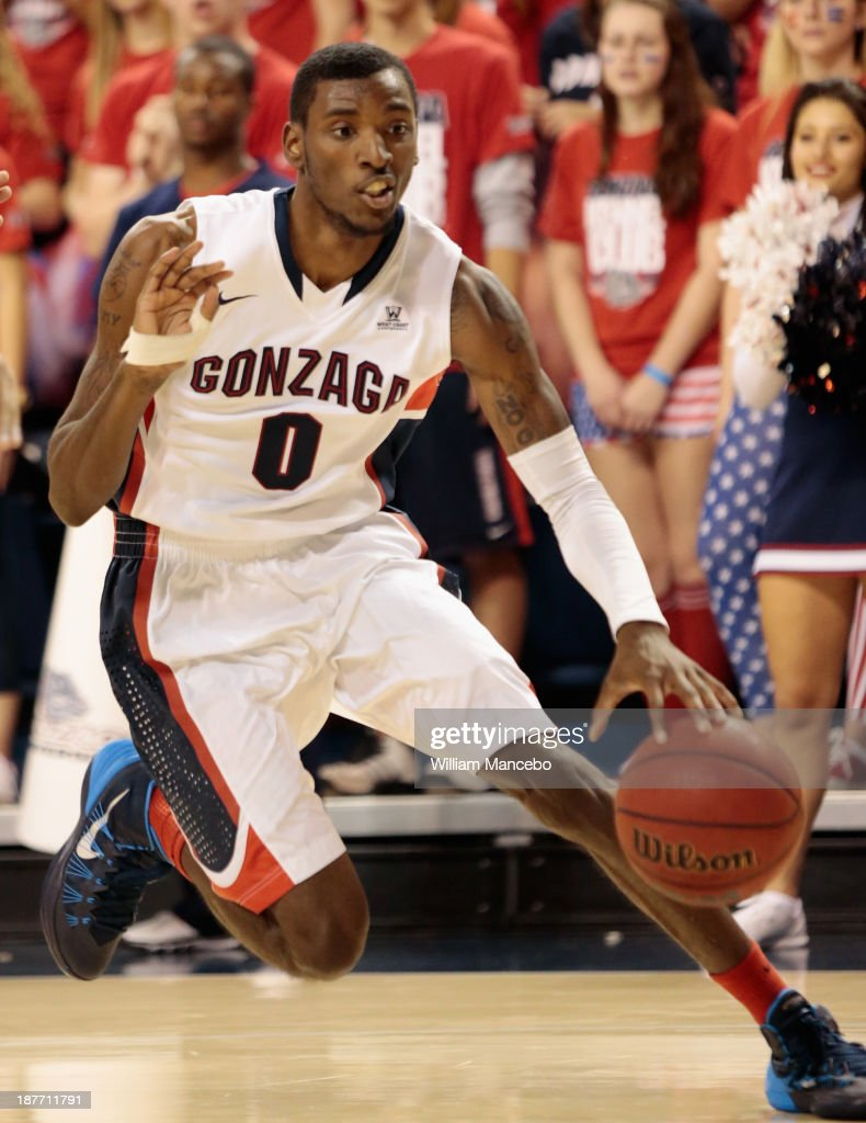 Gerard Coleman #0 of the Gonzaga Bulldogs controls the ball against his dribble against the Colorado State Rams during the game at McCarthey Athletic Center on November 11, 2013 in Spokane, Washington.