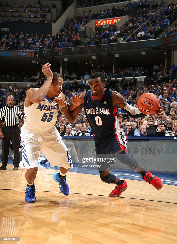 Gerard Coleman #0 of the Gonzaga Bulldogs drives with the ball against Geron Johnson #55 of the Memphis Tigers on February 8, 2014 at FedExForum in Memphis, Tennessee. Memphis beat Gonzaga 60-54.