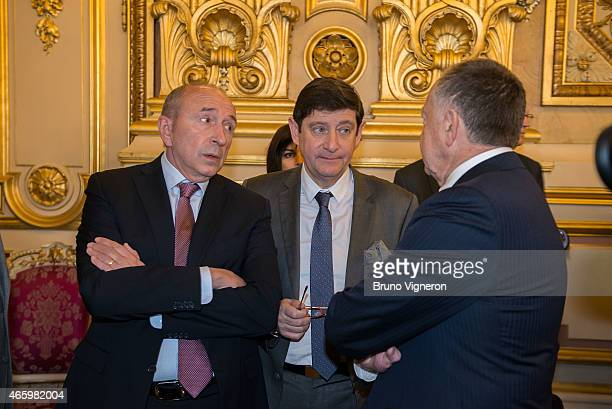 Gerard Collomb and Patrick Kanner attend the EURO 2016 Steering Committee Meeting Lyon on March 12 2015 in Lyon France