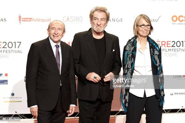 Gerard Collomb Eddy Mitchell and Francoise Nyssen attend opening ceremony of 9th Film Festival Lumiere In Lyon on October 14 2017 in Lyon France