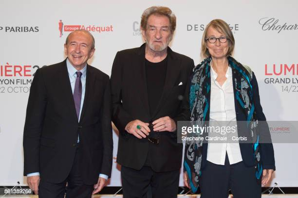 Gerard Collomb Eddy Mitchell and Francoise Nyssen attend the Opening Ceremony of the 9th Film Festival Lumiere on October 14 2017 in Lyon France