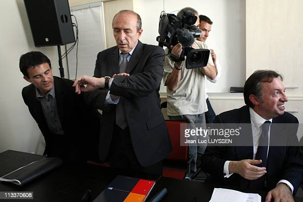 Gerard Collomb JeanNoel Guerini Manuel Valls And Jean Germain Presents Their Contribution 'La Ligne Claire' At The Conference Of The Socialist Party...