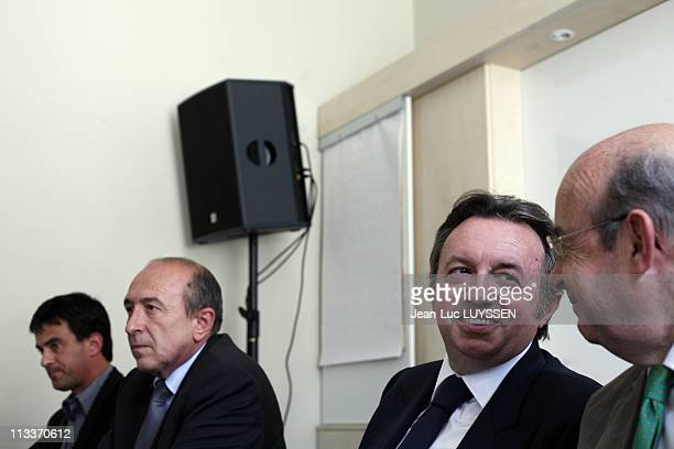 Gerard Collomb JeanNoel Guerini Manuel Valls Jean Germain Present Their Contribution 'La Ligne Claire' At The Conference Of The Socialist Party In...