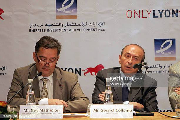 Gerard Collomb Mayor of French city Lyon and Guy Mathiolon President of the Chamber of Commerce Industry of Lyon give a press conference in Dubai on...