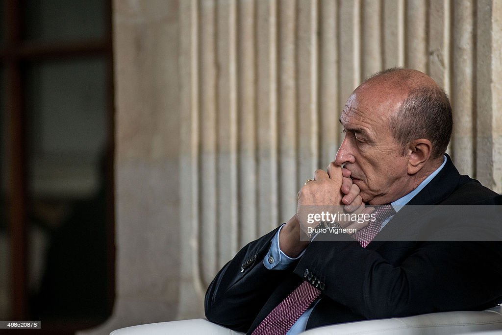 <a gi-track='captionPersonalityLinkClicked' href=/galleries/search?phrase=Gerard+Collomb&family=editorial&specificpeople=672969 ng-click='$event.stopPropagation()'>Gerard Collomb</a>, Mayor of Lyon looks on during the visit of historical Hotel-Dieu of Lyon before the start of the renovation work on April 3, 2015 in Lyon, France.