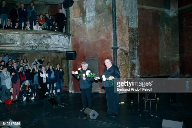 Gerard Daguerre and Gerard Depardieu acknowledge the applause of the audience after Gerard Depardieu sings Barbara accompanied on the piano of...