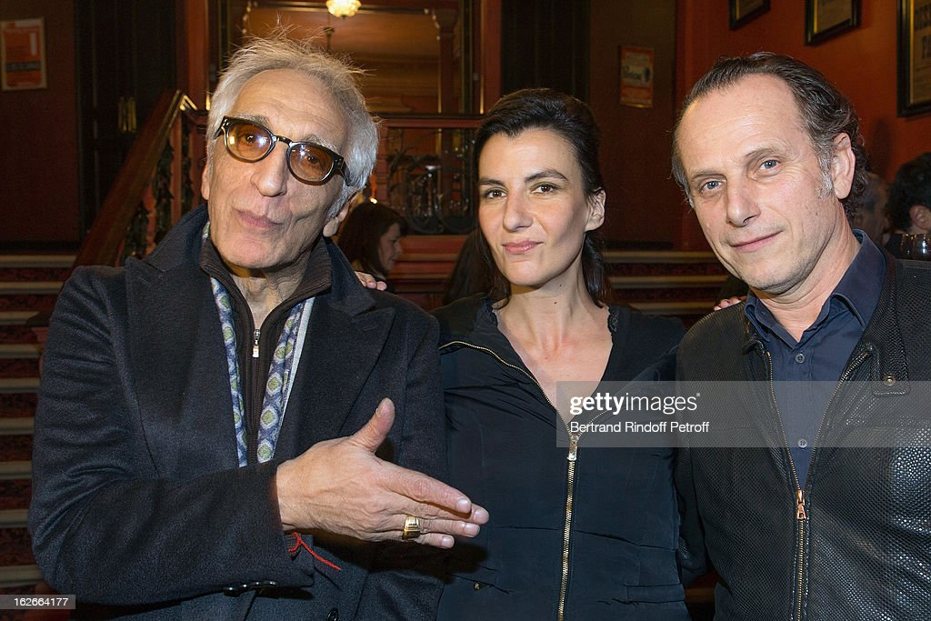 Gerard Darmon Delphine de Malherbe and Charles Berling pose following the 200th performance of the play 'Inconnu A Cette Adresse' at Theatre Antoine...