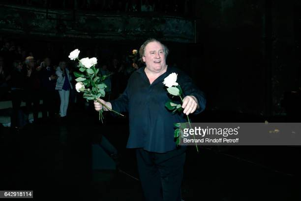 Gerard Depardieu acknowledges the applause of the audience after Gerard Depardieu sings Barbara accompanied on the piano of Barbara by Gerard...