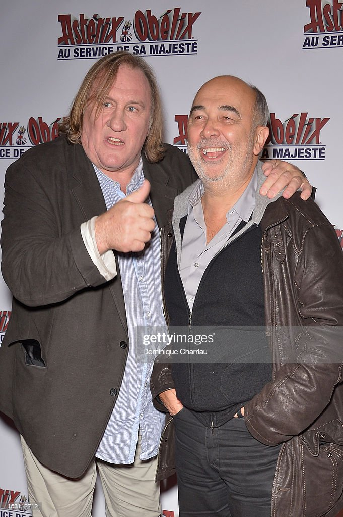 <a gi-track='captionPersonalityLinkClicked' href=/galleries/search?phrase=Gerard+Depardieu&family=editorial&specificpeople=207073 ng-click='$event.stopPropagation()'>Gerard Depardieu</a> and Gerard Jugnot attend 'Asterix & Obelix: Au Service De Sa Majeste' at Le Grand Rex on September 30, 2012 in Paris, France.