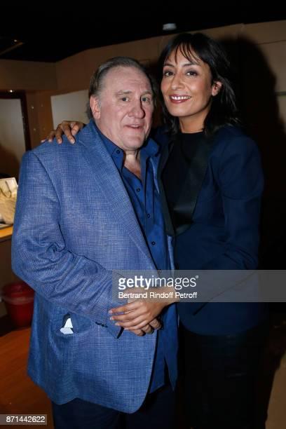 Gerard Depardieu and Journalist Leila Kaddour pose after 'Depardieu Chante Barbara' at Le Cirque d'Hiver on November 6 2017 in Paris France