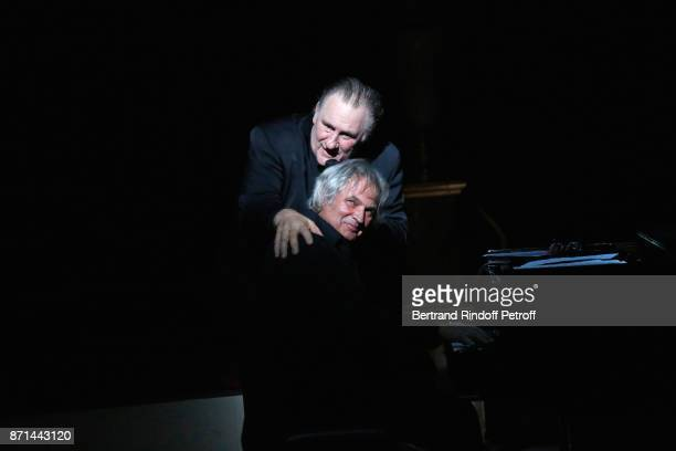 Gerard Depardieu and pianist Gerard Daguerre acknowledge the applause of the audience at the end of 'Depardieu Chante Barbara' at Le Cirque d'Hiver...