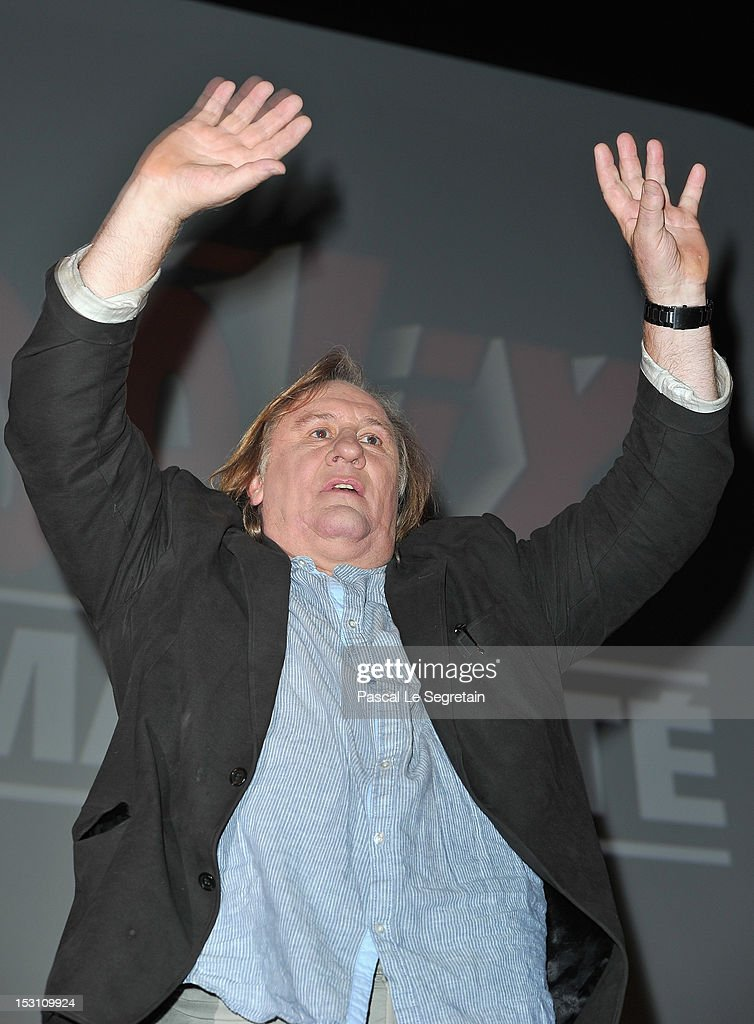 <a gi-track='captionPersonalityLinkClicked' href=/galleries/search?phrase=Gerard+Depardieu&family=editorial&specificpeople=207073 ng-click='$event.stopPropagation()'>Gerard Depardieu</a> attends the 'Asterix & Obelix: Au Service De Sa Majeste' premiere at Le Grand Rex on September 30, 2012 in Paris, France.