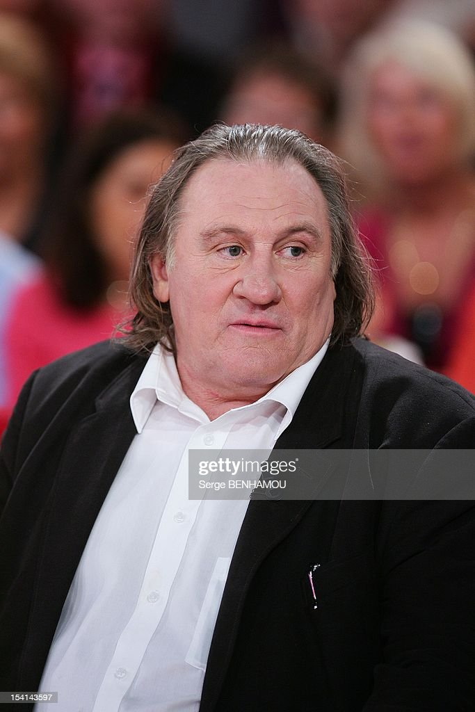 <a gi-track='captionPersonalityLinkClicked' href=/galleries/search?phrase=Gerard+Depardieu&family=editorial&specificpeople=207073 ng-click='$event.stopPropagation()'>Gerard Depardieu</a> attends Vivement Dimanche Tv show on October 3, 2012 in Paris, France.