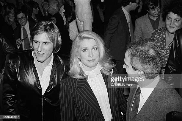 Gerard Depardieu Catherine Deneuve and Francois Truffuat attend a cocktail party at the Consulate of France in New York where their film 'The Last...