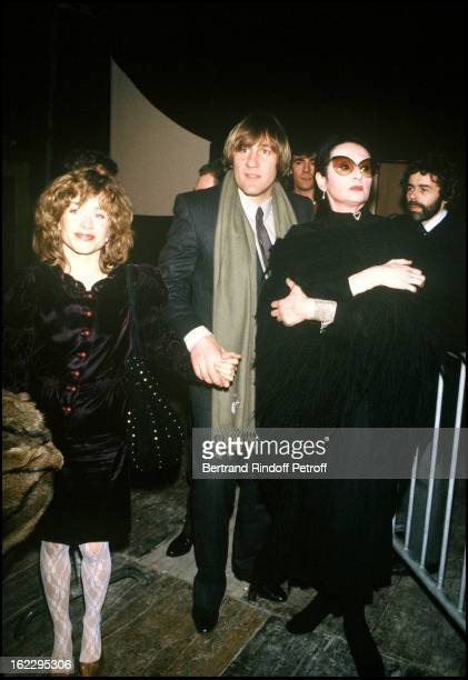 Gerard Depardieu his wife Elisabeth and singer Barbara at a party Paris 1983