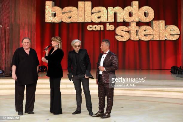 Gerard Depardieu Milly Carlucci Marco Castoldi aka Morgan and Paolo Belli attend the Italian TV show 'Ballando Con Le Stelle' at Auditorium Rai on...