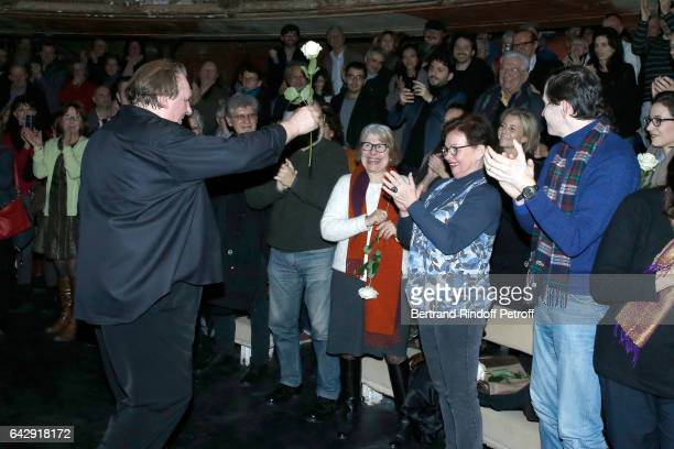 Gerard Depardieu offering a Rose to Claire Chazal after he sings Barbara accompanied on the piano of Barbara by Gerard Daguerre who was Barbara's...
