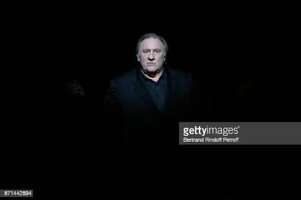 Gerard Depardieu performs during 'Depardieu Chante Barbara' at Le Cirque d'Hiver on November 7 2017 in Paris France