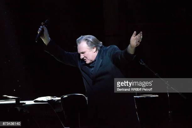 Gerard Depardieu performs during 'Depardieu Chante Barbara' at 'Le Cirque D'Hiver' on November 10 2017 in Paris France