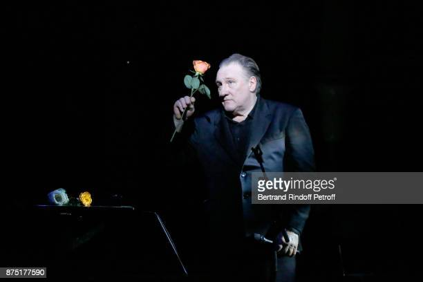 Gerard Depardieu performs during 'Depardieu Chante Barbara' at 'Le Cirque D'Hiver' on November 16 2017 in Paris France