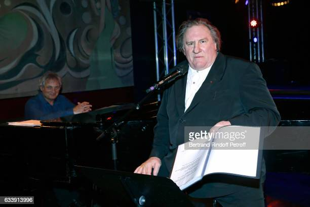Gerard Depardieu sings Barbara accompanied on the piano of Barbara by Gerard Daguerre who was his Pianist for more than 15 years Held at 'Theatre des...