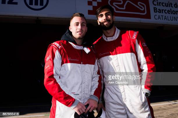 Gerard Deulofeu and Andre Gomes of FC Barcelona prepare to enjoy the Audi Driving Experience during the Audi Car handover to the players of FC...