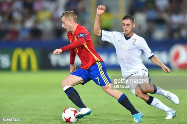 Gerard Deulofeu and Davide Calabria during the UEFA European Under21 match between Spain and Italy on June 27 2017 in Krakow Poland