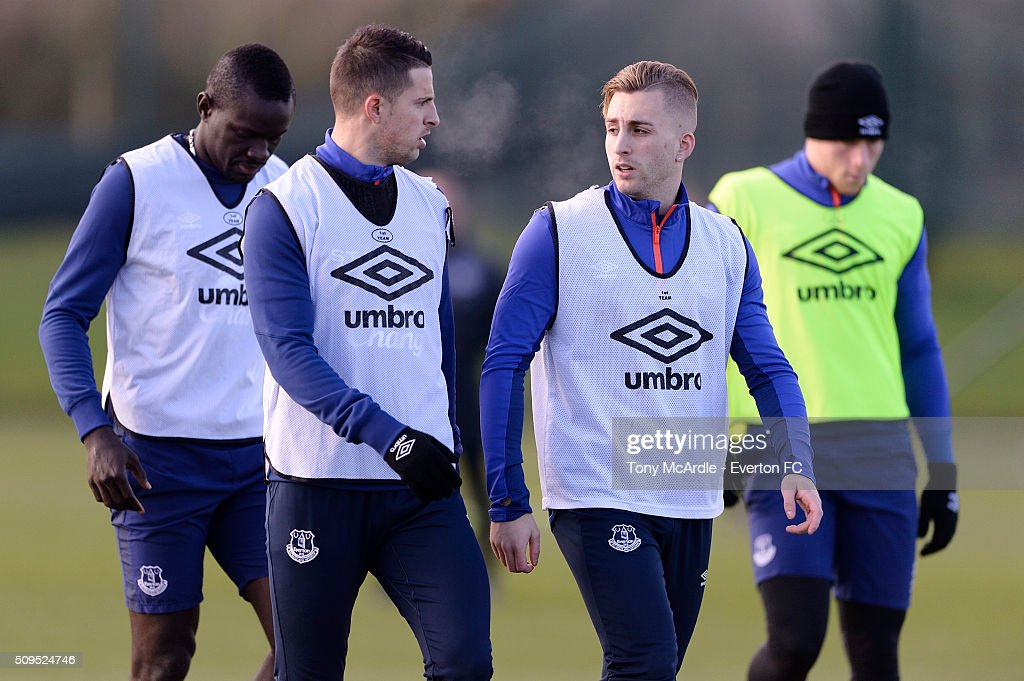 Gerard Deulofeu and Kevin Mirallas (R) during the Everton training session at Finch Farm on February 11, 2016 in Halewood, England.